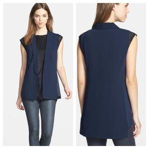 Trouve Blazer Style Vest With Chiffon Inserts Sz S